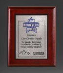 Cherry Finish Panel; Silver Tone Plate Achievement Awards