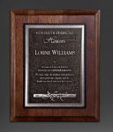 Walnut Panel; Silver Tone Plate Achievement Awards