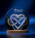 Black and Clear Circular Award on Wooden Base Achievement Awards